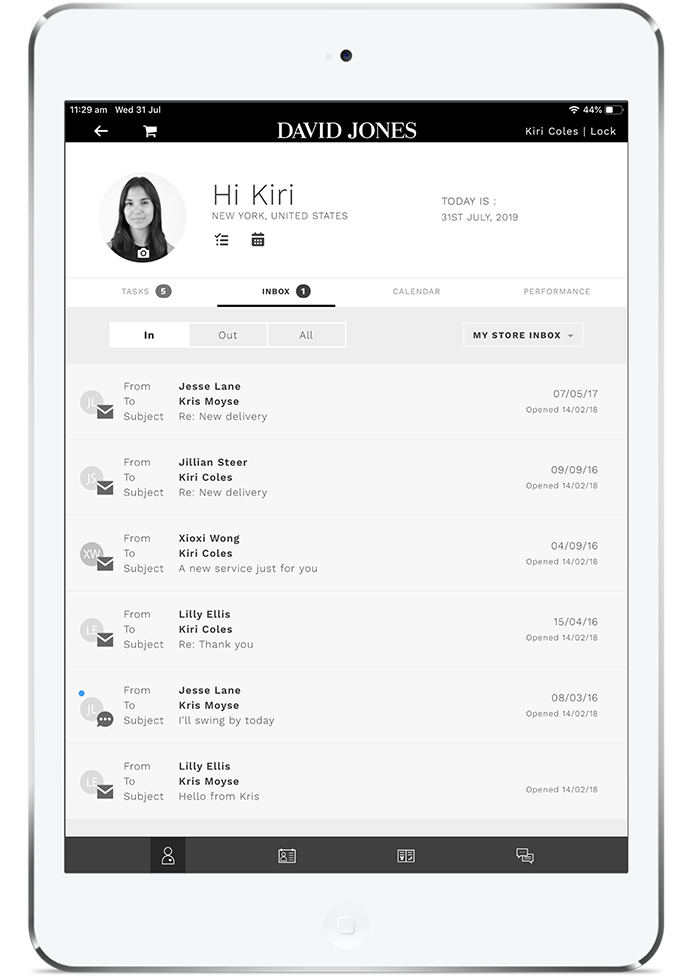 proximity insight sales associate inbox ipad