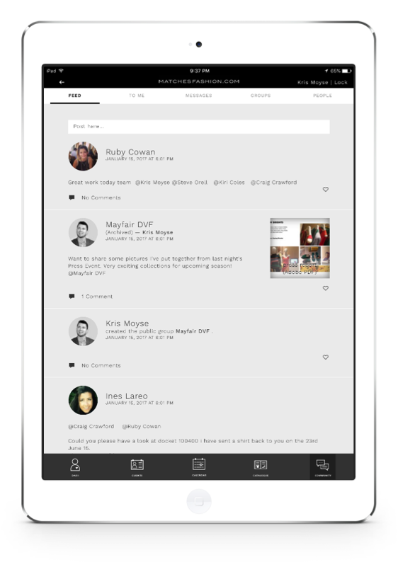 proximity insight social functionality ipad